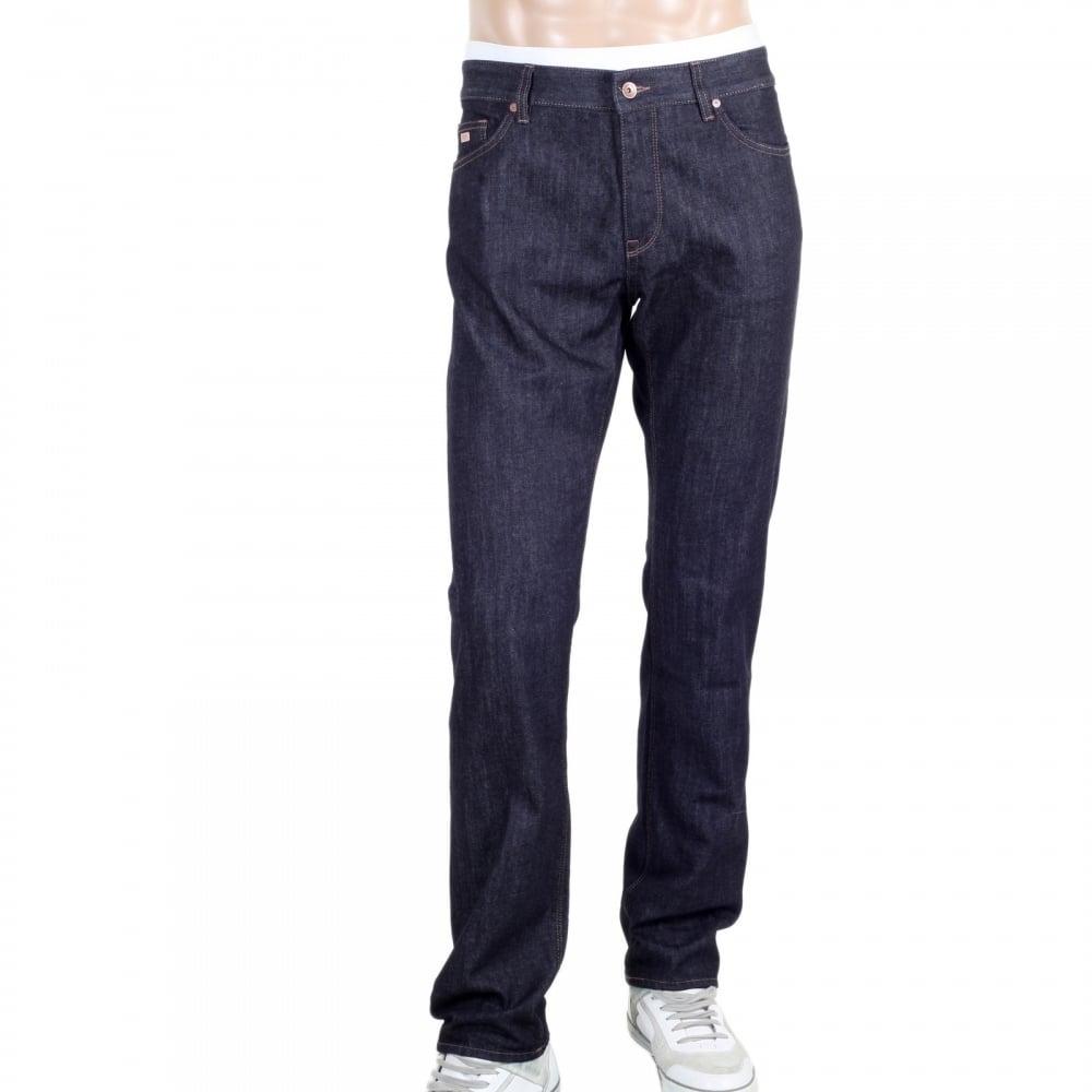 ... HUGO BOSS BLACK Mens Dark Navy Blue Maine3 Regular Fit 50302729 Stretch  Jeans with Regular Waist
