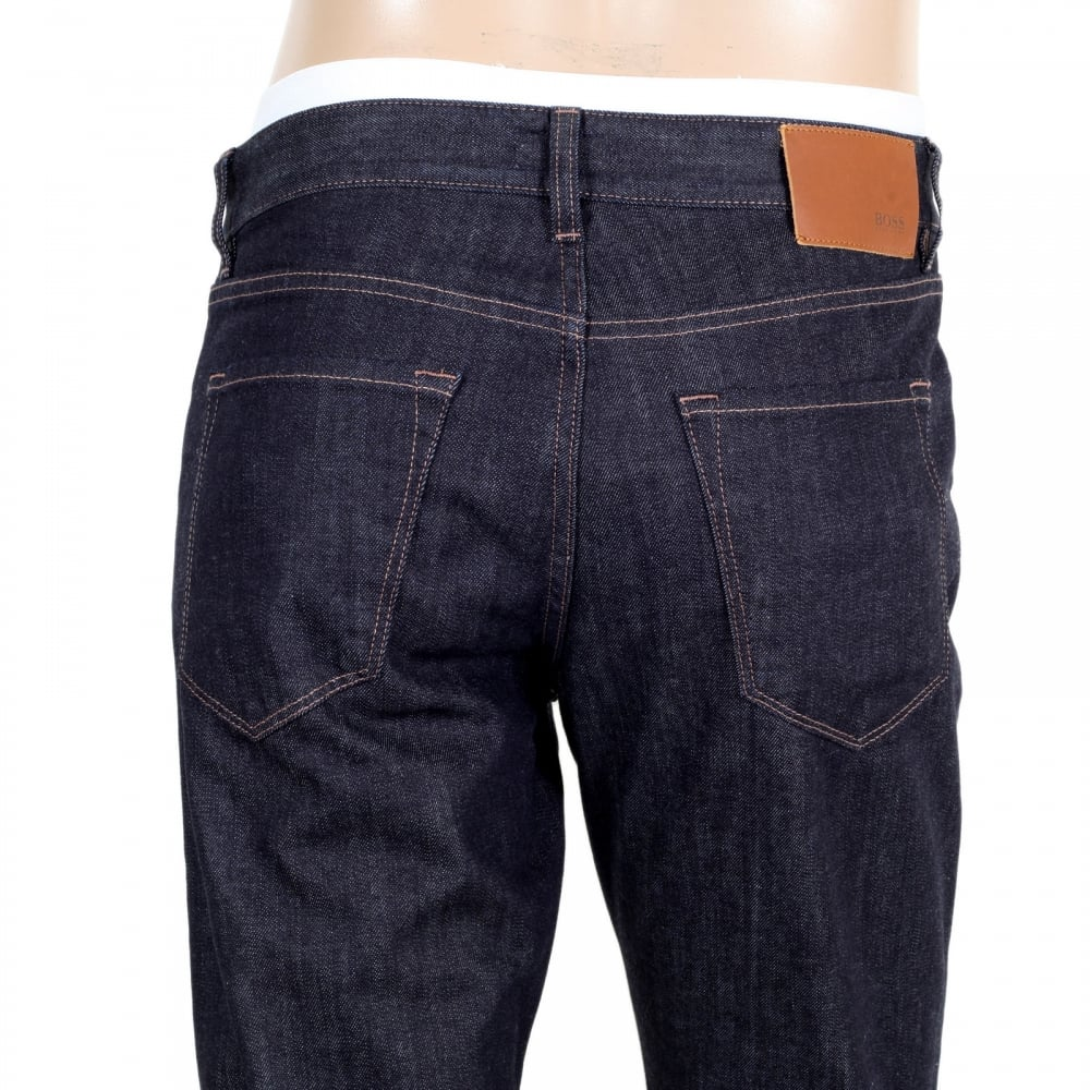 7b030761f78a ... HUGO BOSS BLACK Mens Dark Navy Blue Maine3 Regular Fit 50302729 Stretch  Jeans with Regular Waist ...