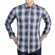 Mens Grey and Blue Woven Checked Cotton Long Sleeve Slim Fit Sven Shirt