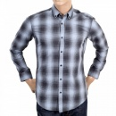 HUGO BOSS BLACK Mens Grey and Blue Woven Checked Cotton Long Sleeve Slim Fit Sven Shirt