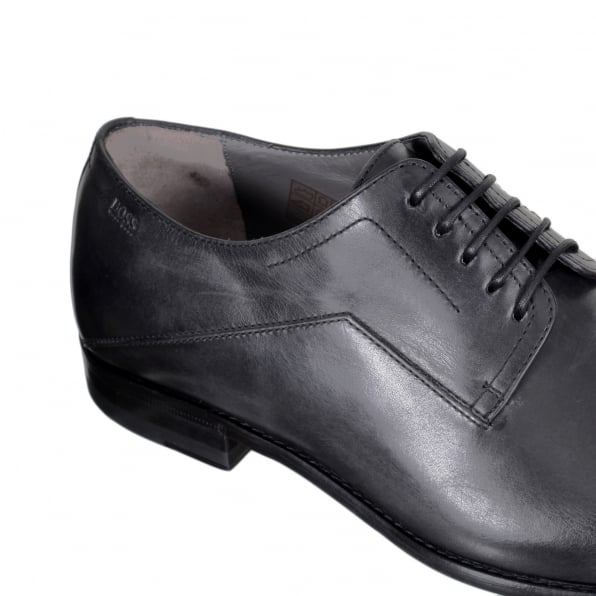 HUGO BOSS BLACK Mens Lace Up 50285371 Black Light Washed Leather Firlo Shoe with Oval Shaped Toe