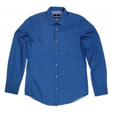 Mens Long Sleeve Slim Fit Ronny Shirt in Blue with Soft Collar and Diamond Jacquard Pattern from Boss Black