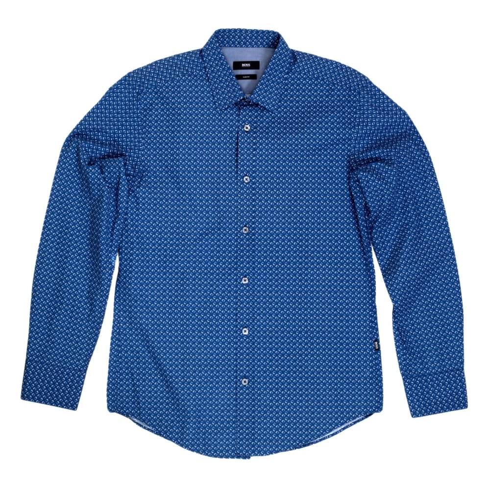 dabaa33e HUGO BOSS BLACK Mens Long Sleeve Slim Fit Ronny Shirt in Blue with Soft  Collar and Diamond Jacquard Pattern from Boss Black