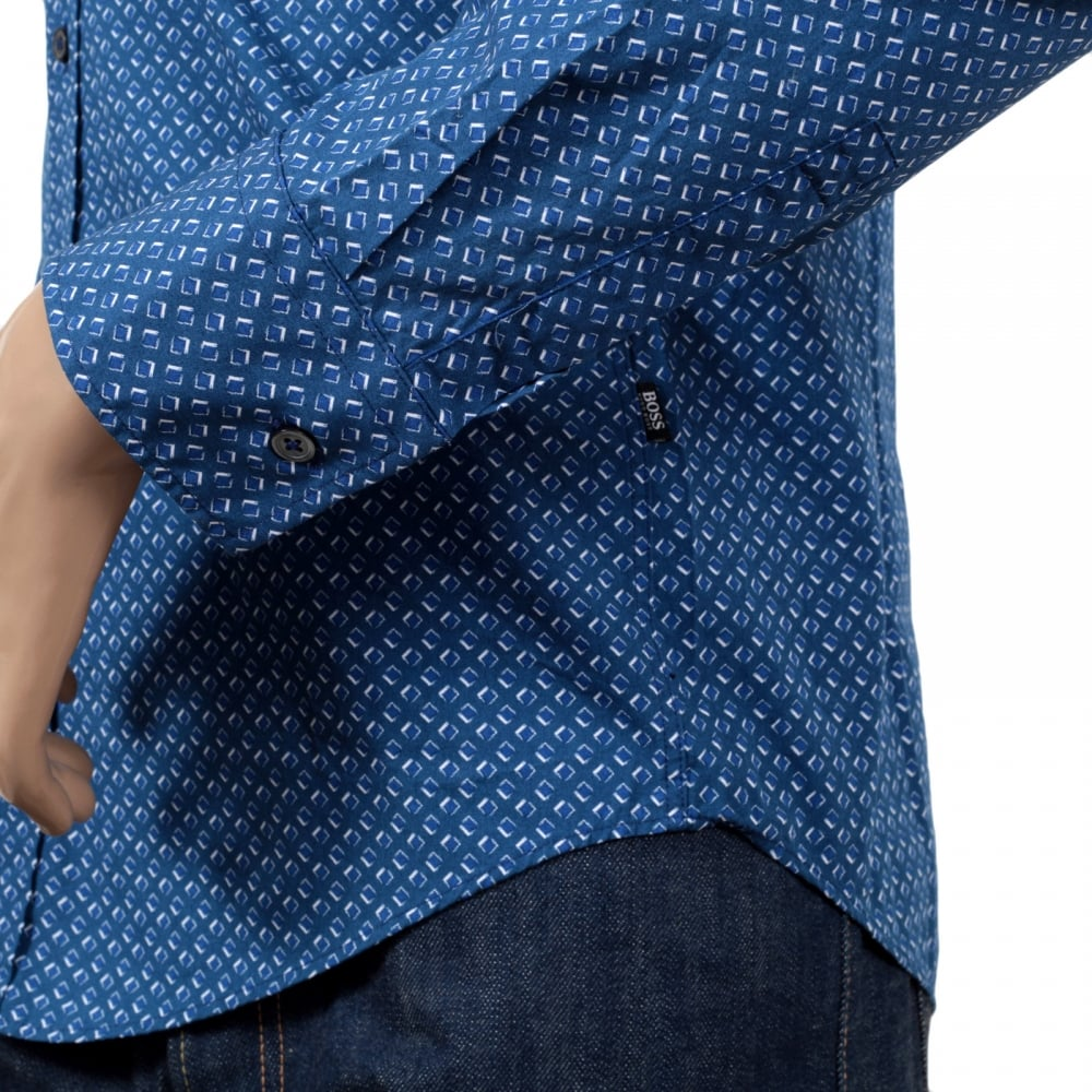 2ae2e102 ... HUGO BOSS BLACK Mens Long Sleeve Slim Fit Ronny Shirt in Blue with Soft  Collar and ...
