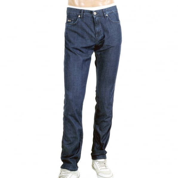 HUGO BOSS BLACK Mens Navy Blue Delaware 3 Lightweight 50313540 Stretch Denim Slim Fit Jeans with Zip Fly and Regular High Waist