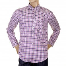Mens Ramon purple check long sleeve shirt
