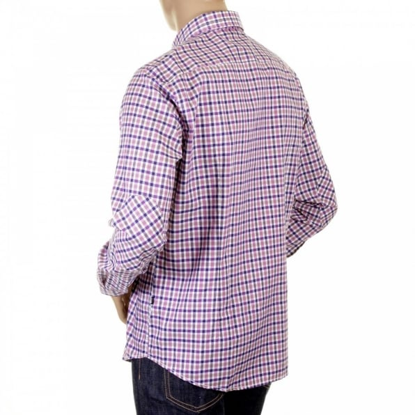 HUGO BOSS BLACK Mens Ramon purple check long sleeve shirt
