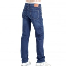 Mens Regular Fit Maine2 Washed Blue 50295738 Stretch Denim Jeans with Regular Waist and Straight Leg