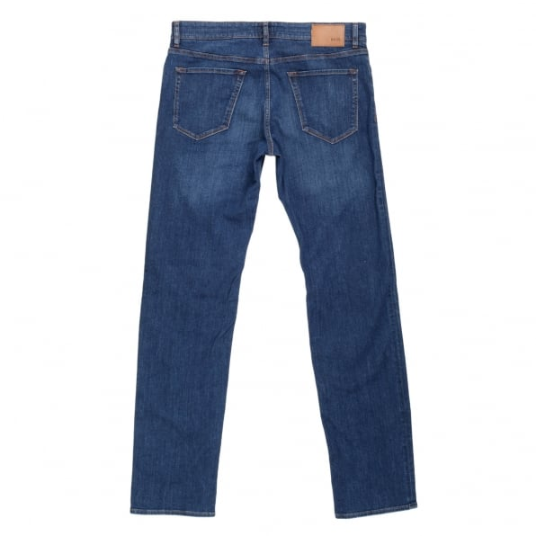 HUGO BOSS BLACK Mens Regular Fit Maine2 Washed Blue 50295738 Stretch Denim Jeans with Regular Waist and Straight Leg