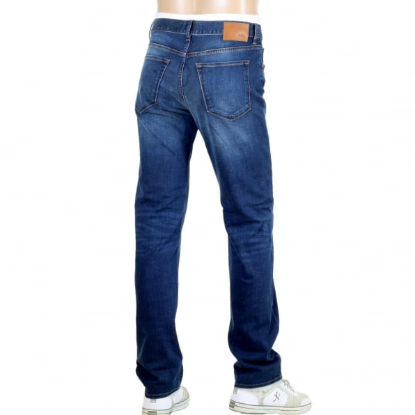 HUGO BOSS BLACK Mens Regular Fit Stretch 50283403 Denim Maine 1 Blue Jeans with Fading