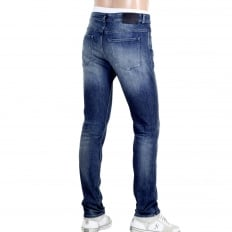 Mens Slim Fit Delaware 3 Stretch Denim 50308897 Stonewashed Indigo Blue Jeans with Fading and Creasing