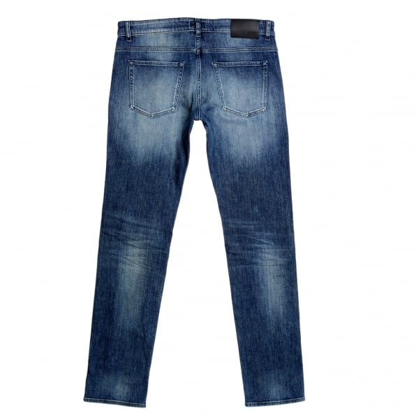 HUGO BOSS BLACK Mens Slim Fit Delaware 3 Stretch Denim 50308897 Stonewashed Indigo Blue Jeans with Fading and Creasing