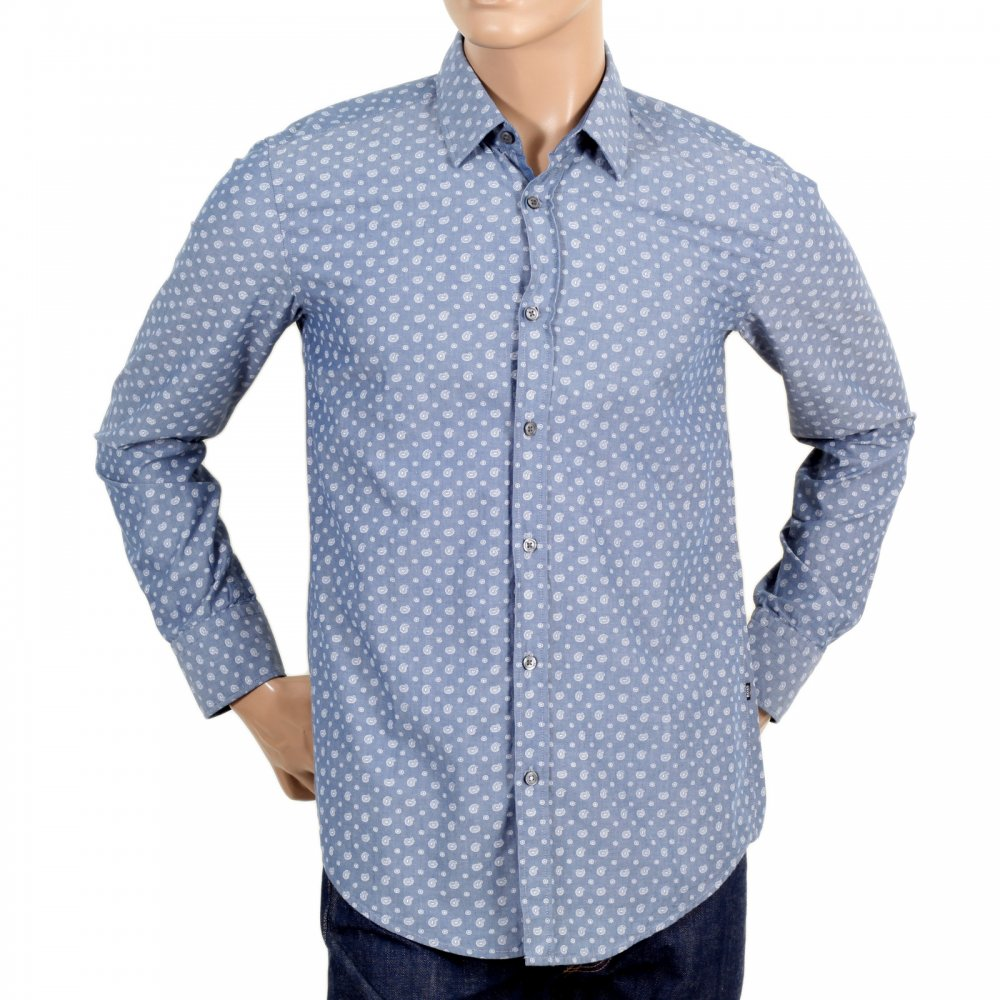 HUGO BOSS BLACK Mens Slim Fit Long Sleeve Button Down Collar Paisley  Pattern Shirt ...