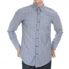 Mens slim fit long sleeve paisley shirt