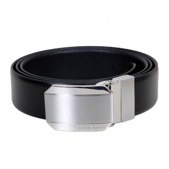 HUGO BOSS BLACK Otello Mens Black 50327678 Fully Reversible Leather Belt with Silver Metal Buckle with Pointed Belt Tip