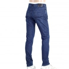 Slim Fit Regular Waist Washed Indigo Blue Denim Jeans with Silver Metal Logo Tab on Ticket Pocket