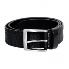 Torialo Mens Black Textured Leather Casual Belt with Embossed Logo 50213547 and Silver Pin Buckle