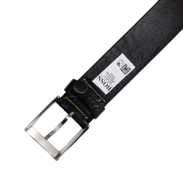 HUGO BOSS BLACK Torialo Mens Black Textured Leather Casual Belt with Embossed Logo 50213547 and Silver Pin Buckle