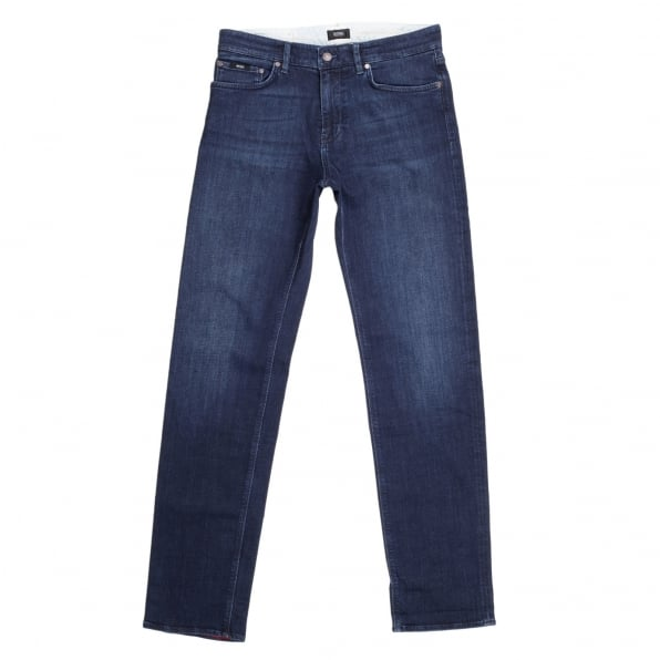 HUGO BOSS BLACK Washed Dark Blue Regular Fit Maine 2 Stretch Denim Jeans with Woven Logo Tape on Ticket Pocket and Zip Fly