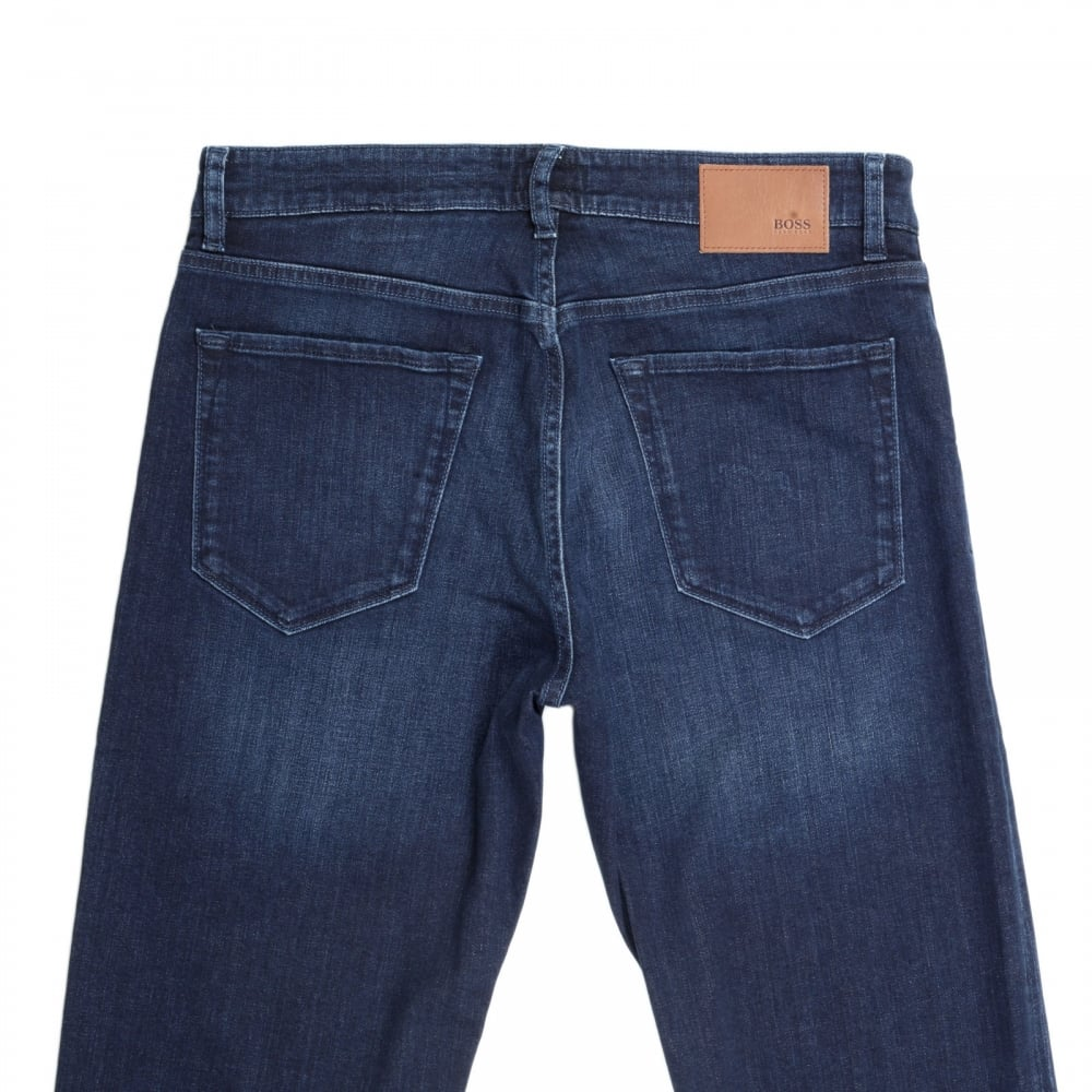 Regular-fit jeans in dark-blue washed stretch denim BOSS Fast Express Outlet Pay With Visa mttgmpqM