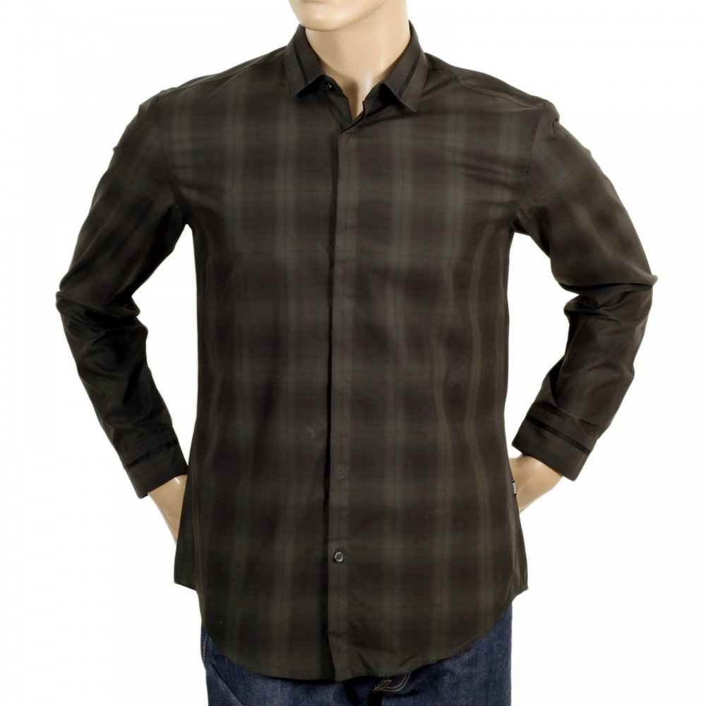 ... HUGO BOSS BLACK Woven Cotton Slim Fit Loren Long Sleeve Black and Dark  Green Check Casual ...