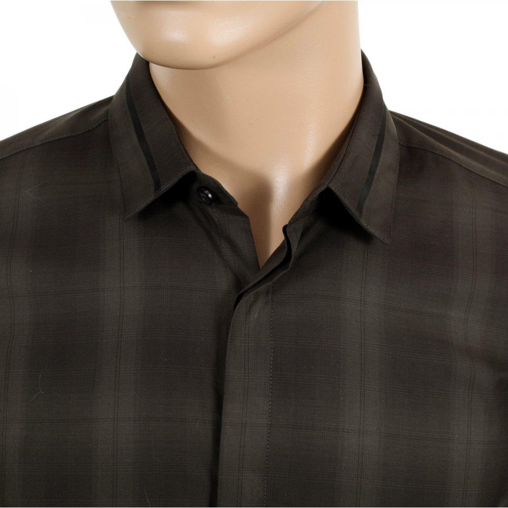 a5d1d220ed0 HUGO BOSS BLACK Woven Cotton Slim Fit Loren Long Sleeve Black and Dark.  White Mens Shirt.