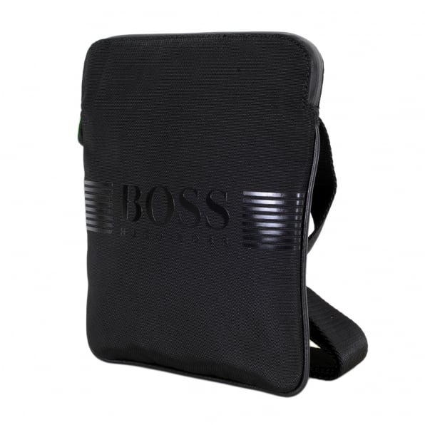 HUGO BOSS GREEN Black Pixel Messenger Bag with Inner Jacquard Logo Lining and a Zip Closure