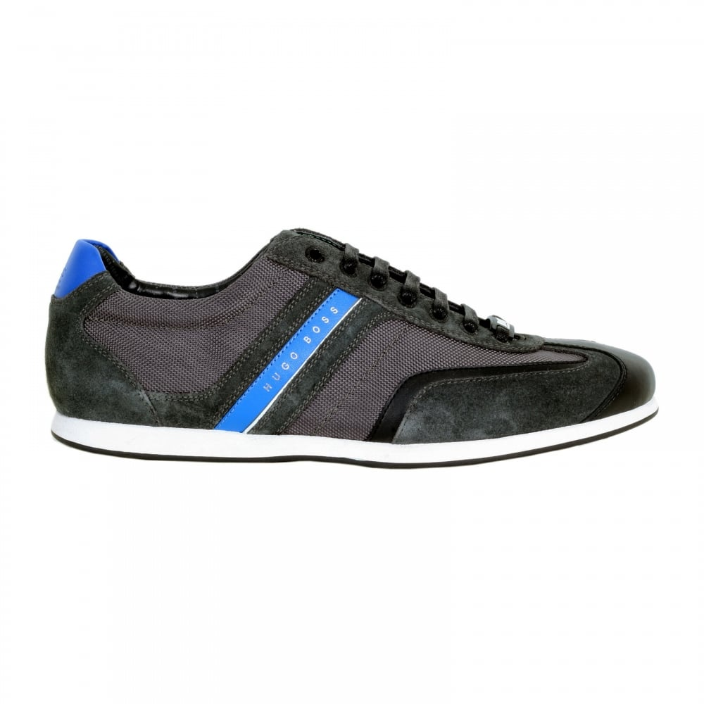 18b823311 HUGO BOSS GREEN Charcoal Grey Stiven Trainers with a Branded Blue Side  Stripe and Blue Heel Panel
