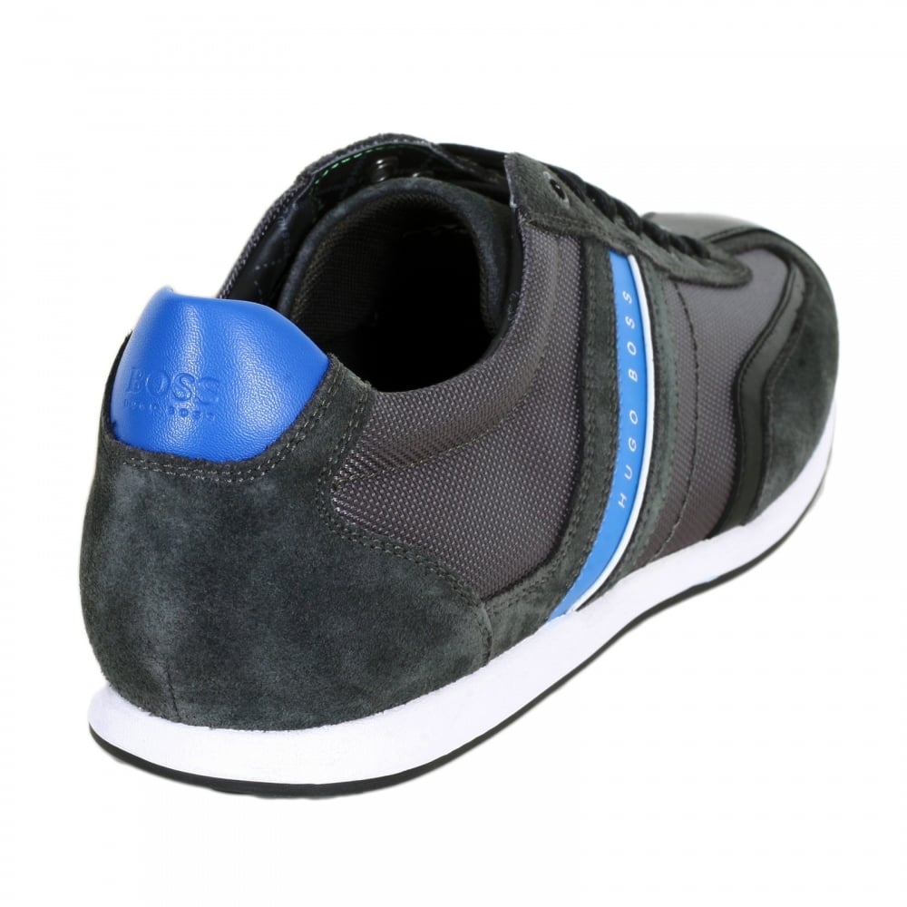 07959b276 ... HUGO BOSS GREEN Charcoal Grey Stiven Trainers with a Branded Blue Side  Stripe and Blue Heel ...