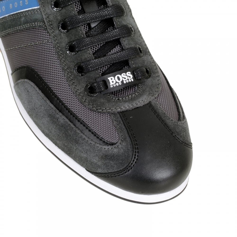 44354a141 HUGO BOSS GREEN Charcoal Grey Stiven Trainers with a Branded Blue Side  Stripe and Blue Heel ...