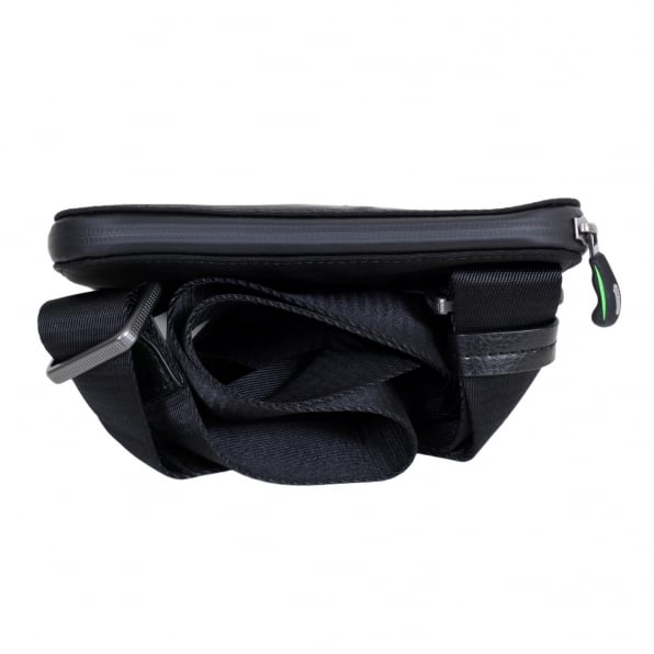 HUGO BOSS GREEN Green Pixel Messenger Bag in Black 50320816 with Front Logo in Black on Grey Felt and Top Envelope Zip Closure