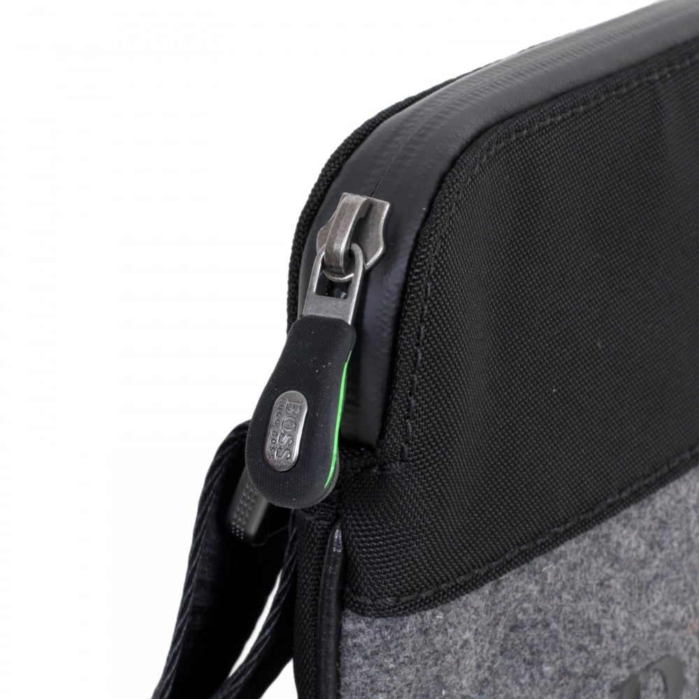 2dd5a1323eb ... HUGO BOSS GREEN Green Pixel Messenger Bag in Black 50320816 with Front  Logo in Black on ...