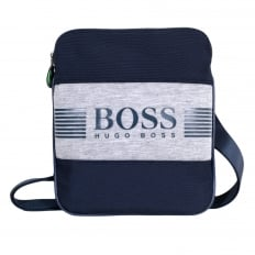 Green Pixel Messenger Bag in Navy 50327876 with Front Logo on Grey Jersey and Top Envelope Zip Closure