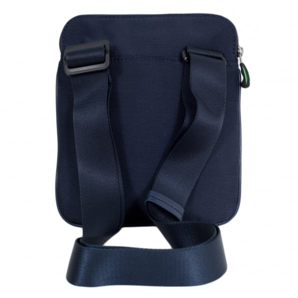 HUGO BOSS GREEN Green Pixel Messenger Bag in Navy 50327876 with Front Logo on Grey Jersey and Top Envelope Zip Closure