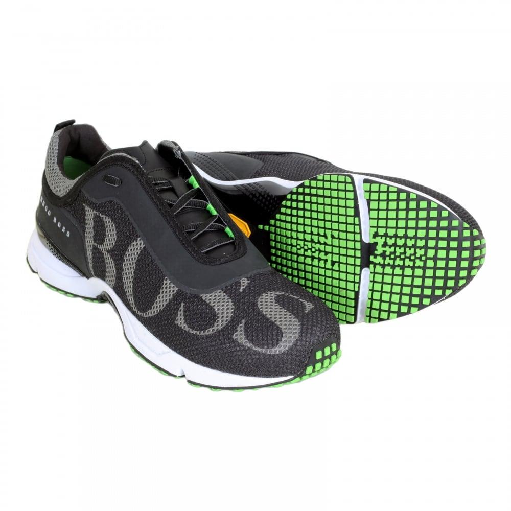 e472a916e09 HUGO BOSS GREEN Low Top Round Toe Velox Black Trainers with Ergonomically  Shaped Vibram Eva Sole ...