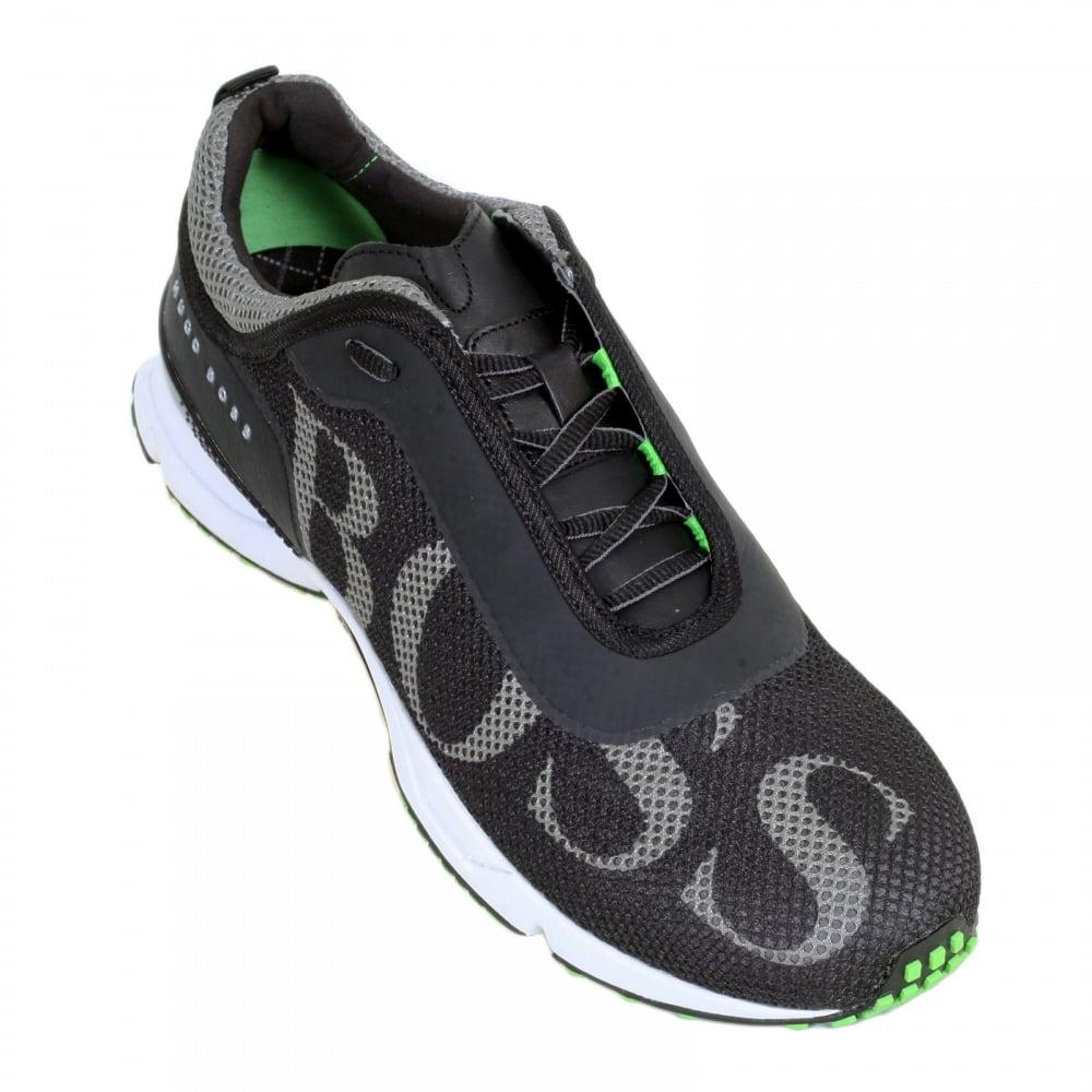 35eeadb47bc ... HUGO BOSS GREEN Low Top Round Toe Velox Black Trainers with  Ergonomically Shaped Vibram Eva Sole ...