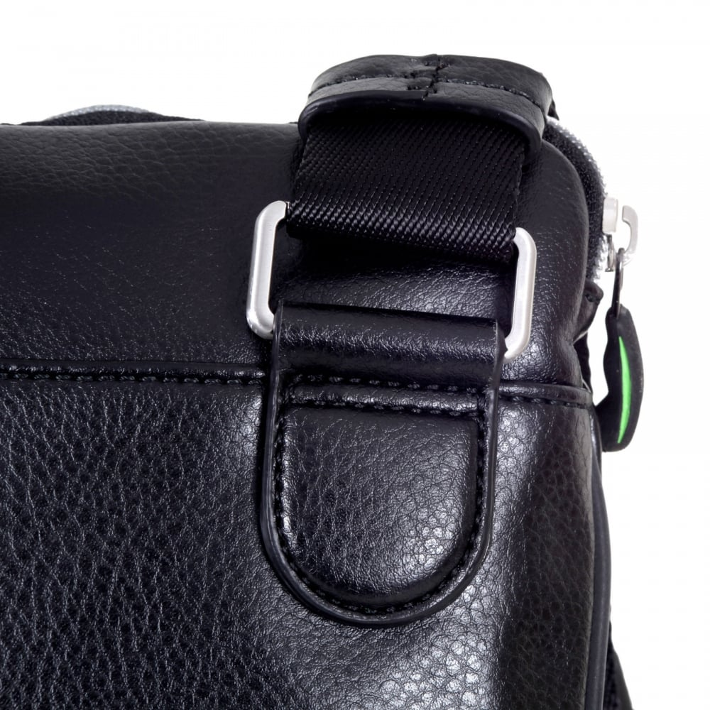 24e4f508dd ... HUGO BOSS GREEN Mens Polyamide 50298854 Bag in Black with Punched out  front and Adjustable Canvas ...