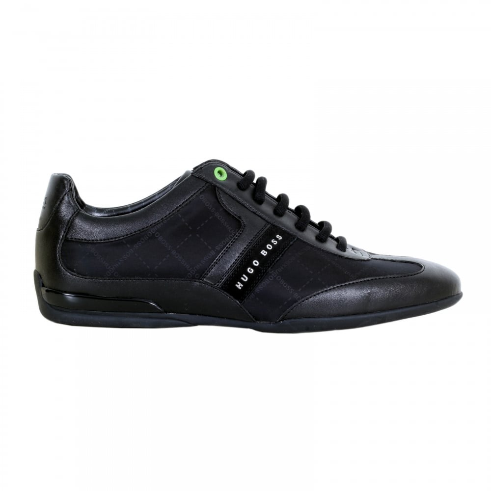72b7a0ead HUGO BOSS GREEN Space Lowp Nypr Black Trainers with Suede Side Panels and  Grid Design Jacquard Logo