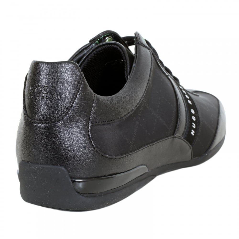 362baabee ... HUGO BOSS GREEN Space Lowp Nypr Black Trainers with Suede Side Panels  and Grid Design Jacquard ...