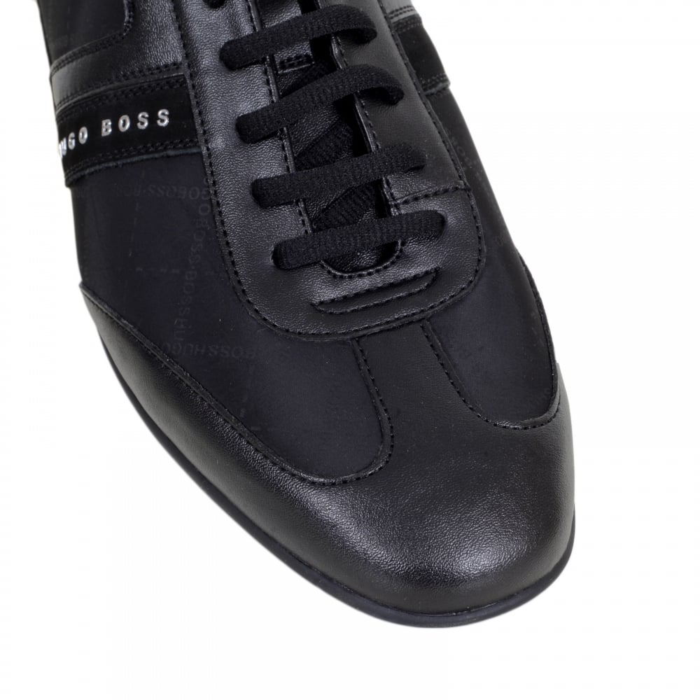 bea97a54d HUGO BOSS GREEN Space Lowp Nypr Black Trainers with Suede Side Panels and  Grid Design Jacquard ...