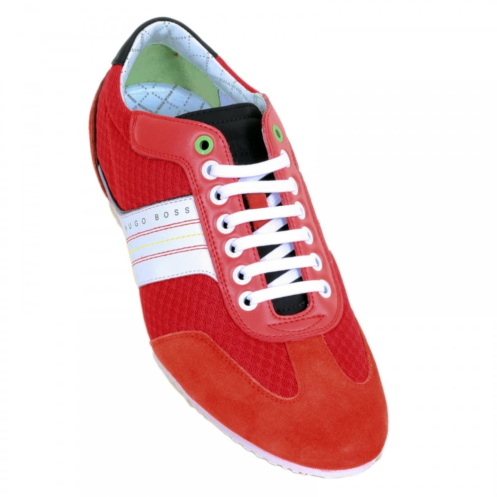 f1b0c71e152 ... HUGO BOSS GREEN Victov Bright Red Round Toe Trainers with Branding on Suede  Trim at Outstep ...