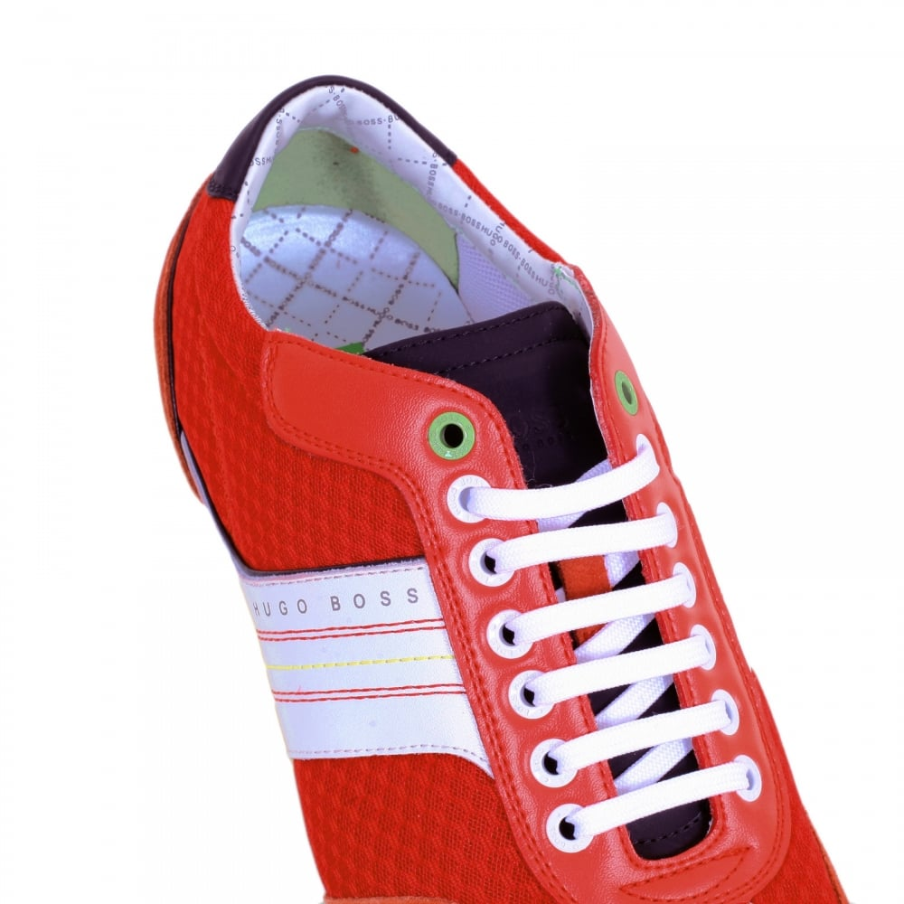 1a081893a6 ... HUGO BOSS GREEN Victov Bright Red Round Toe Trainers with Branding on Suede  Trim at Outstep ...