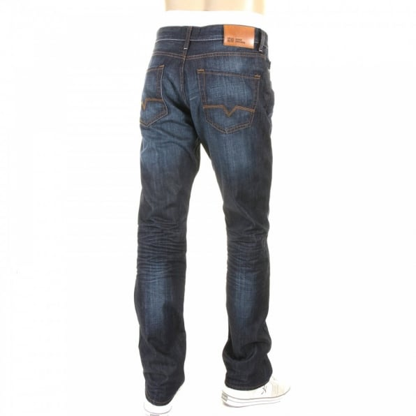 HUGO BOSS ORANGE Blue Regular Fit Washed Indigo Denim Jean