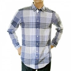 Mens ClffE blue Check Long Sleeve Shirt