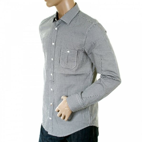 Buy Gingham Checked White And Black Long Sleeve Shirt