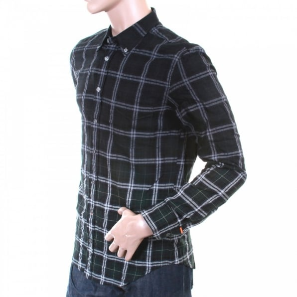 HUGO BOSS ORANGE Mens racing green check long sleeve EquatorE shirt