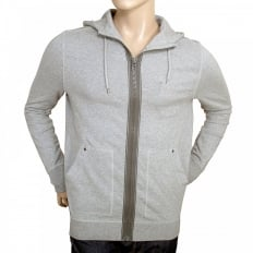 Mens Ztylo zip up grey hooded sweatshirt