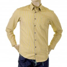 Mustard Regular Fit Cotton Long Sleeve Shirt with Small Checks