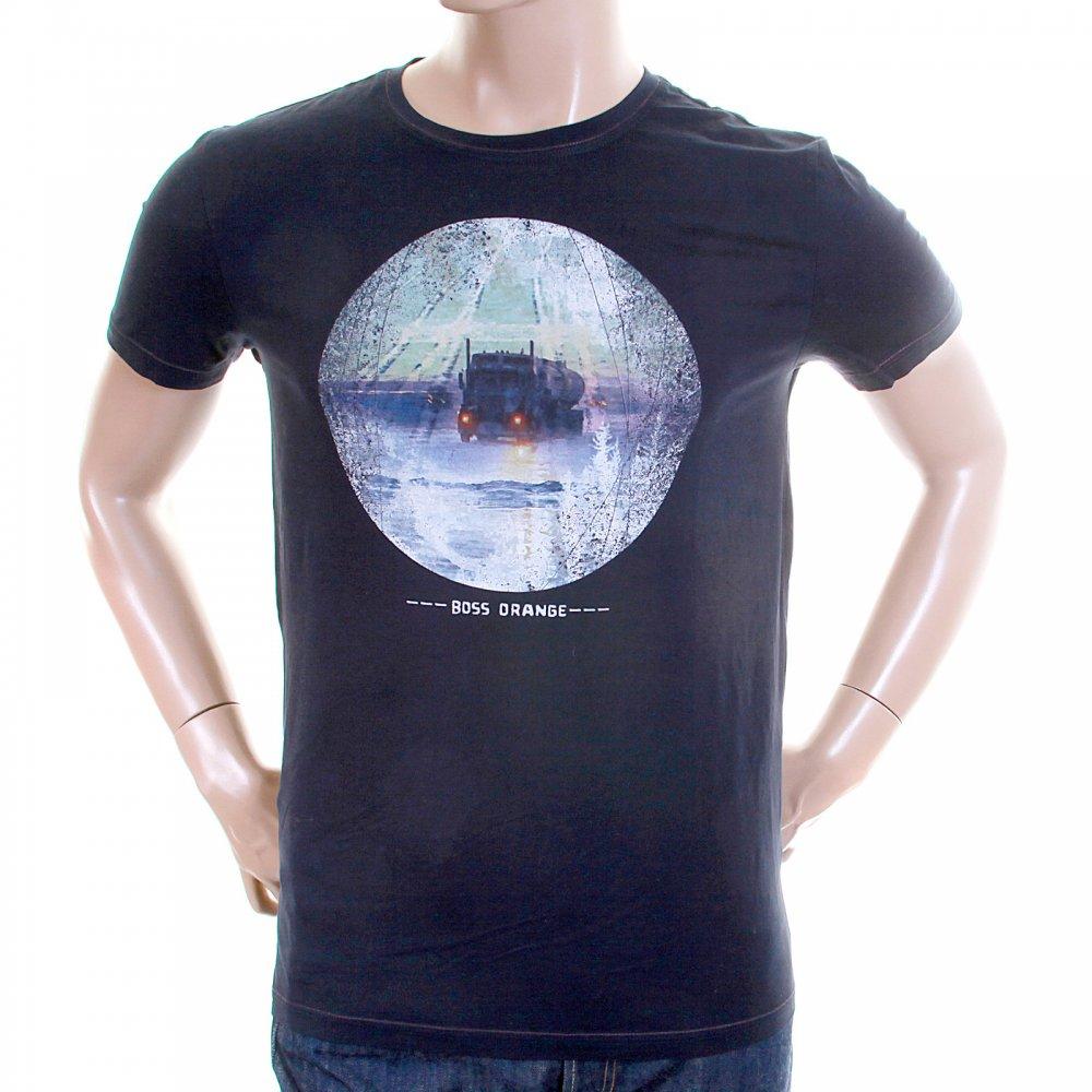 Buy Printed Crew Neck Navy Blue T Shirt By Boss Orange