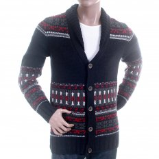 Navy with Red Grey and White Button up Wool Mix Cardigan Knitwear